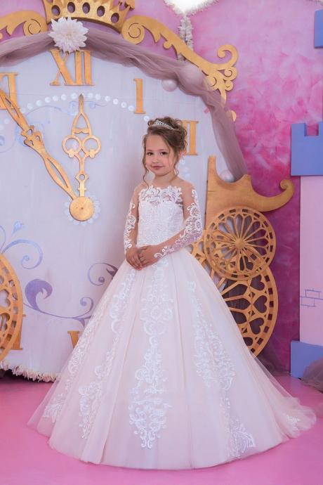 2018 Flower Girls Dresses Jewel Neck Lace Appliques Crystal Sashes Short Sleeves Party Princess Children Kids Party Birthday Gowns