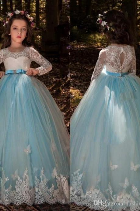 2018 Girls Pageant Dresses Butterfly Lace Long Sleeves Tulle Sash Crystal Light Blue Hollow Back Kids Flower Girls Dress Birthday Gowns