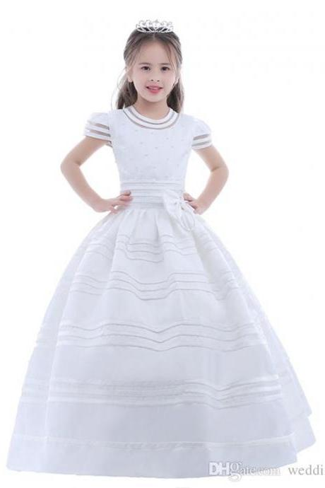 2018 New Arrival Flower Girl Dress First Communion Dresses For Girls Short Sleeve Belt With Flowers Customized