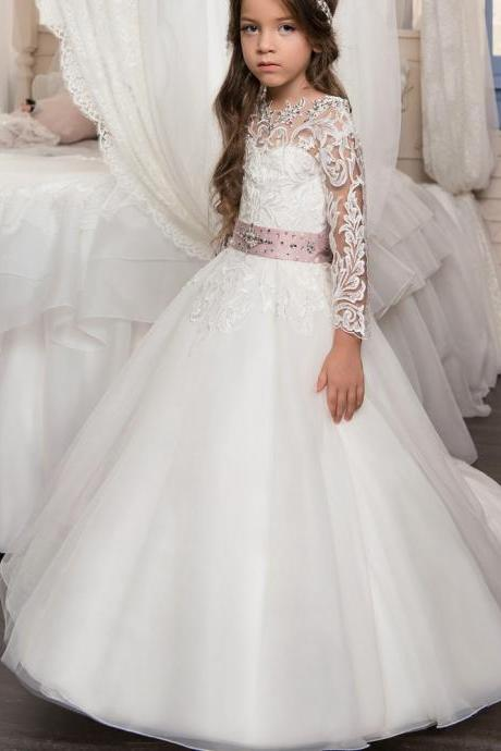 New Arrival Long Sleeve Open Back Beading with Bow Sash Little Flower Girls Ball Gowns Lace Appliques First Communion Dresses