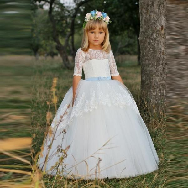 Lace Flower Girl Dresses Tulle Ball Gown first communion dresses for girls Formal Occasion Pageant Gowns Custom Made
