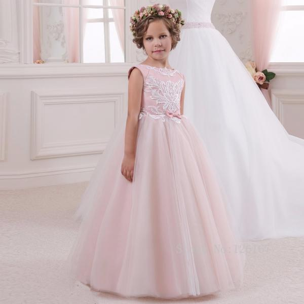2017 Cute Pink Flower Girl Dresses Girl Appliqued With Bow Tulle Girl Pageant Gowns First Comunion Dress Ball Gowns
