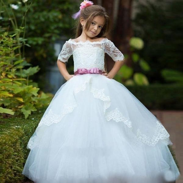 2018 Flower Girl Dresses for Weddings Ball Gown Off Shoulder Lace Appliques Tulle Kids Pageant Gown First Communion Dress