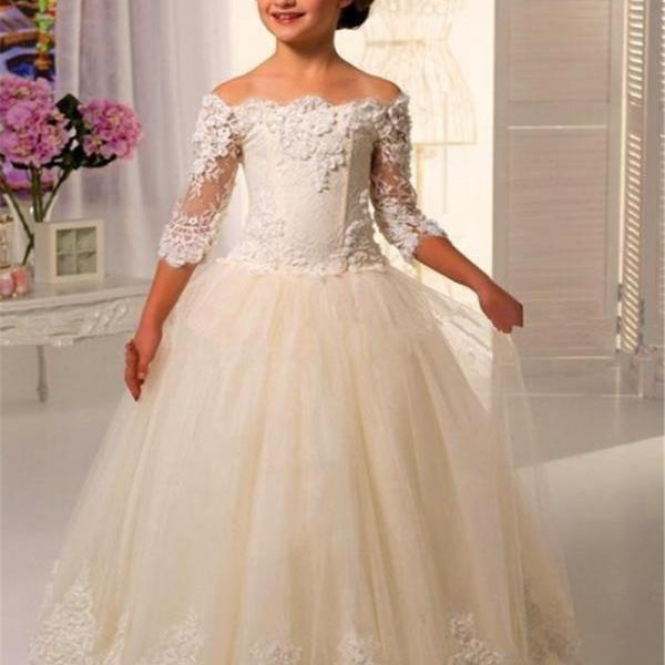 Three Quarter Sleeves Flower Girl Dresses For Weddings Girls Lace Applique Floor Length Tulle First Communion Dress Gowns
