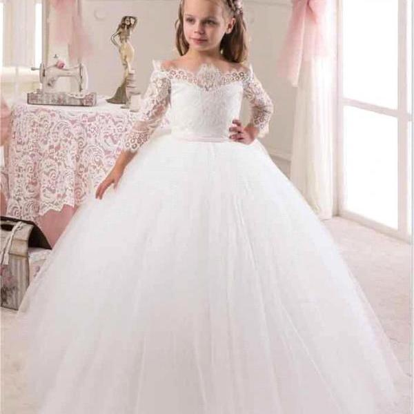 2017 Girls First Communion Dresses Lace Cute White Iovry Flower Girl Dresses With Sleeves for Weddings Children Prom Gown