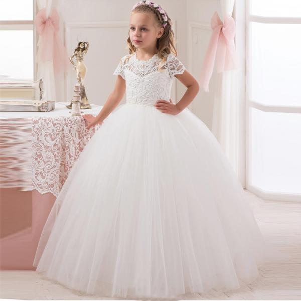 2018 White Lace Ball Gown Flower Girl Dress For Wedding Princess Girls Pageant Dress Short Sleeve Kids Vestidos De Comunion