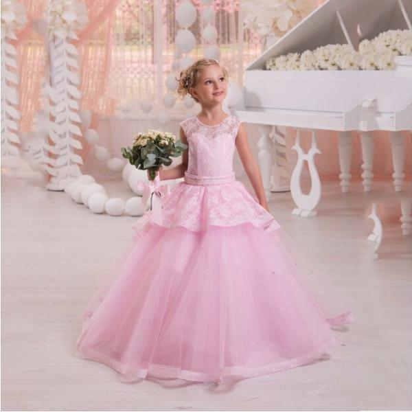 2018 Hot PinkTulle Ball Gown Flower Girl Dress Customized Lace With Beads Floor Length Little Girl Dress For Weddings Party