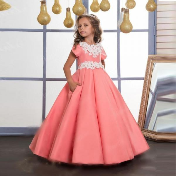 Hot Sale Elegant Satin Ball Gown Flower Girl Dresses With Appliques Floor Length First Communion Dresses For Girls Pageant Gown