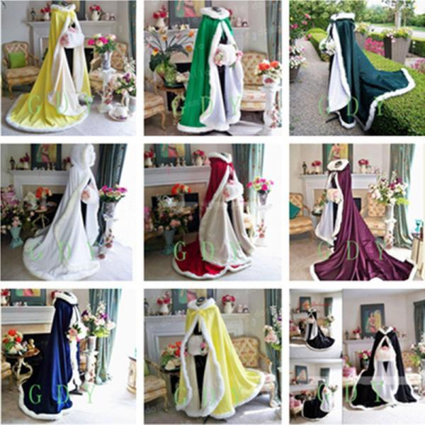 2018 Fall Winter Victorian Style Long Bridal Capes Satin Faux Fur Trim Wedding Cloaks Cheap In Stock