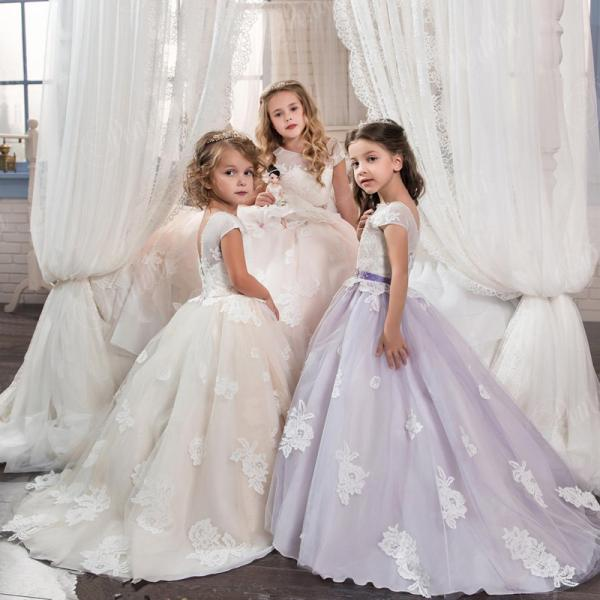 2018 Princess Pageant Dress Ball Gown Lace Flower Girls Dresses For Weddings Tulle Belt First Communion Dress